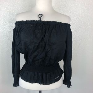 DKNY Jeans | Black Off Shoulder Ruffle Top